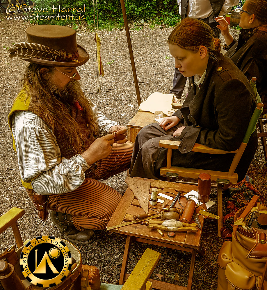 Leather Craft Session at The Goldrush Camp 2019 - The Steam Tent Co-operative. © Gary Waidson - www.Steamtent.uk