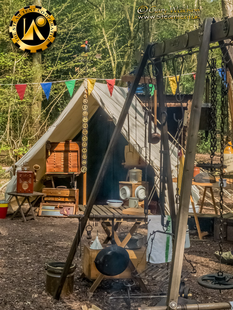 Fire Rig and Utilitent - The Easter Tea Party 2019 - The Steam Tent Co-operative. © Gary Waidson - www.Steamtent.uk