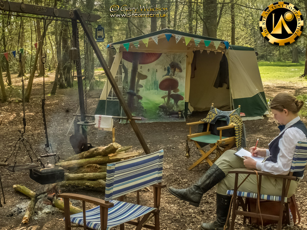 Sitting by the fire - The Easter Tea Party 2019 - The Steam Tent Co-operative. © Gary Waidson - www.Steamtent.uk