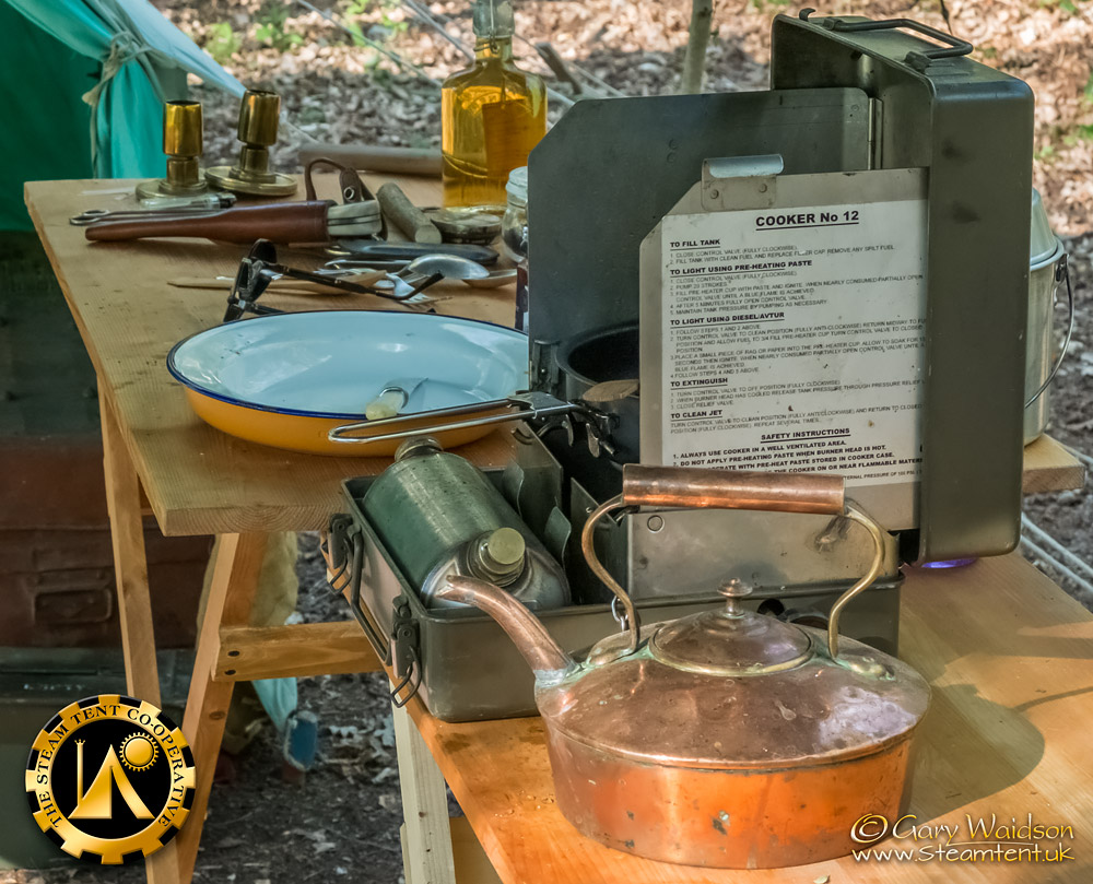 Steve's Cooking Table - The Easter Tea Party 2019 - The Steam Tent Co-operative. © Gary Waidson - www.Steamtent.uk