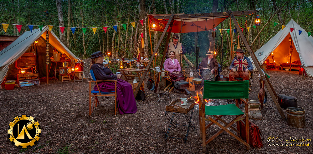 Early Evening by the fire - The Easter Tea Party 2019 - The Steam Tent Co-operative. © Gary Waidson - www.Steamtent.uk