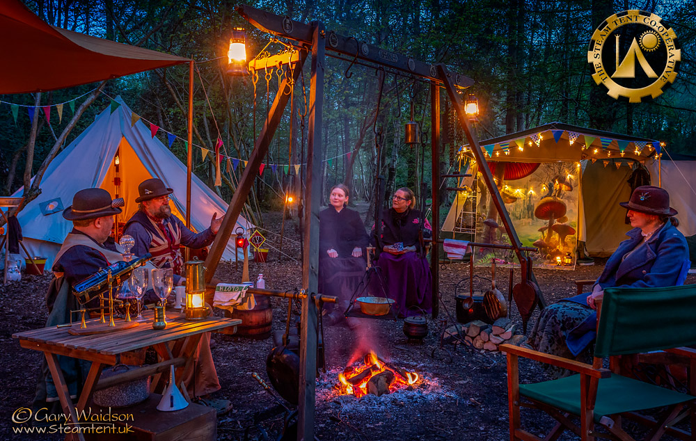 Evening by the fire - The Easter Tea Party 2019 - The Steam Tent Co-operative. © Gary Waidson - www.Steamtent.uk