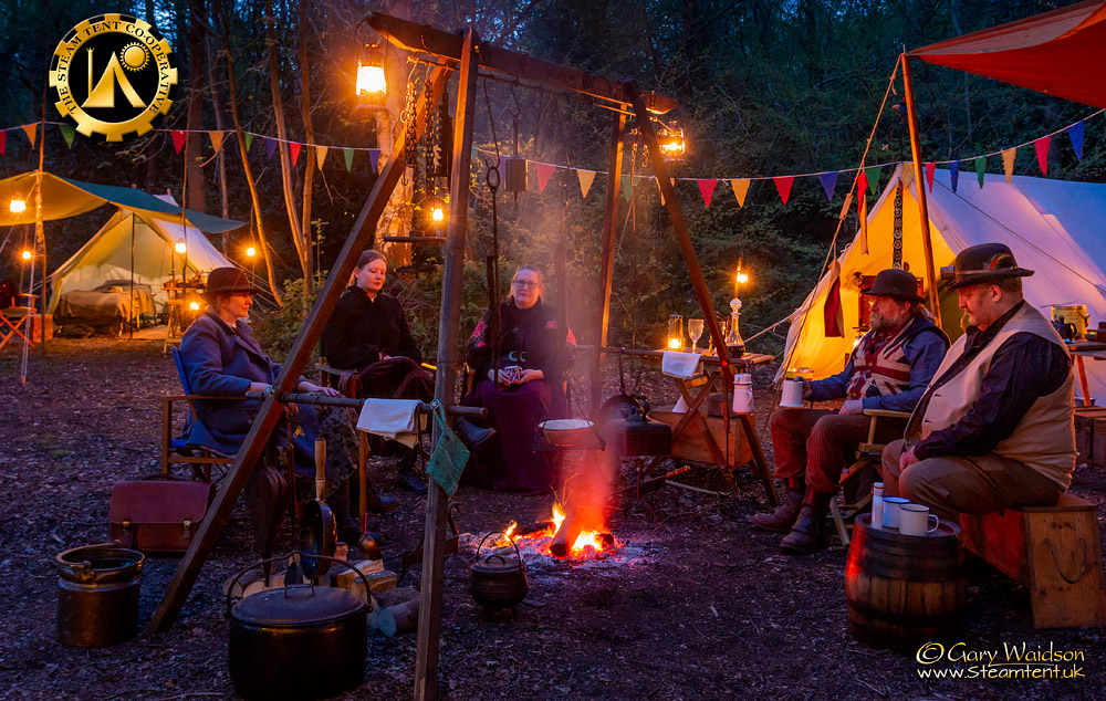 Late Evening around the fire - The Easter Tea Party 2019 - The Steam Tent Co-operative. © Gary Waidson - www.Steamtent.uk